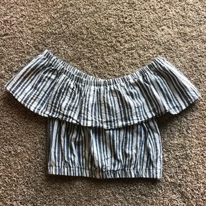 Striped off the shoulder crop top S